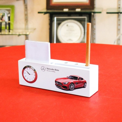 Desk Clock with Pen - Wooden