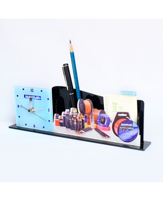 Acrylic Table Clock with Pen Stand