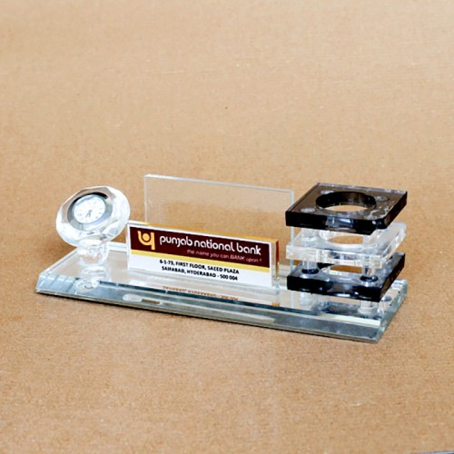 Crystal Pen Stand with Desk Clock (Code: RC-145)