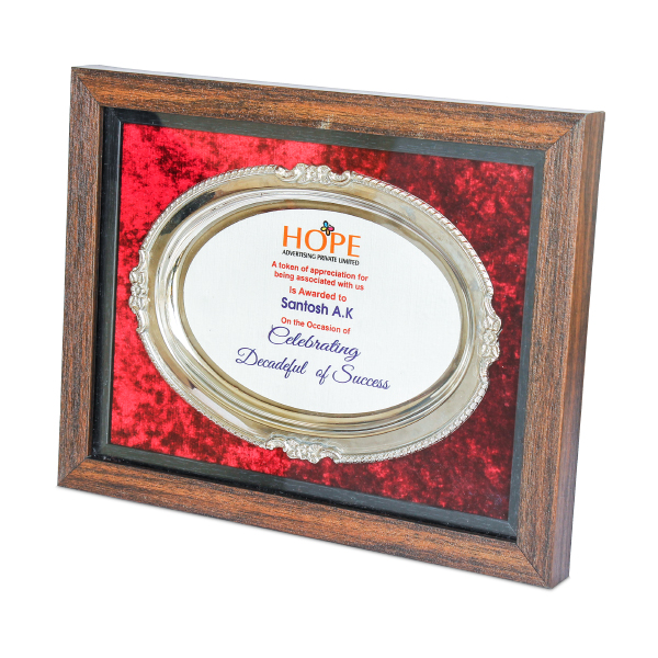 Oval shaped Metal Plate with frame