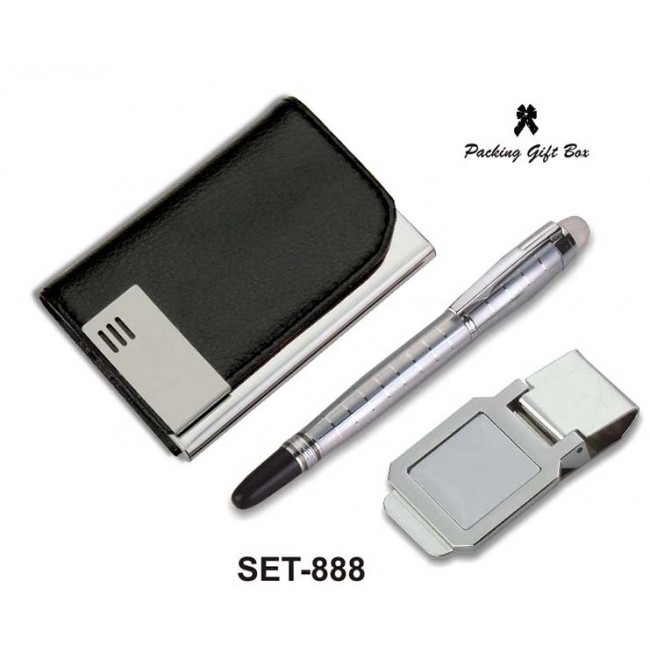 Visiting Card Holder with Pen and Money Clip (Code: SET-888)