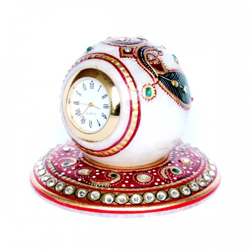 Marble Desk Clock on plate (Code: MH-003)