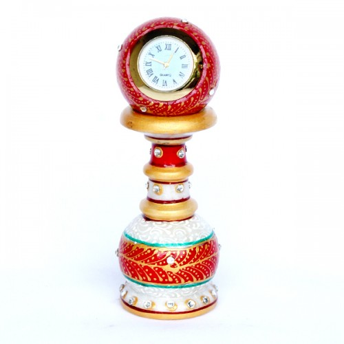 Marble Pillar Desk Clock with double ring (Code: M...