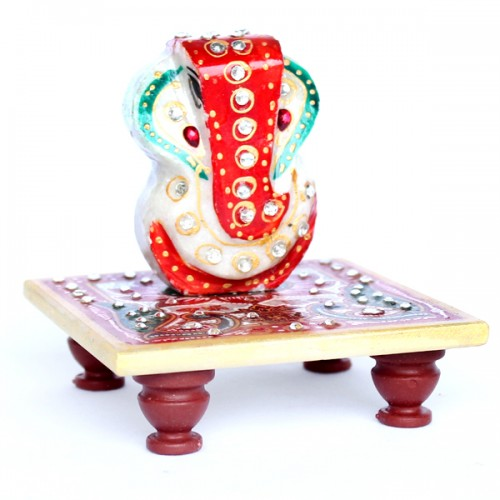 Marble Ganesh - Classic, with Chowki (Code: MH-006...