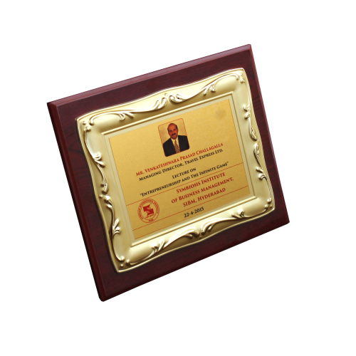 Wooden Plaque with metal plate