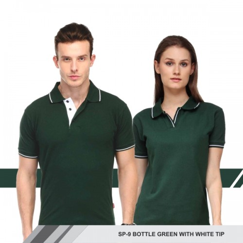 T-Shirt (Bottle green with white tip)