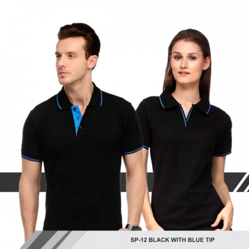 T-Shirt (Black with blue tip)