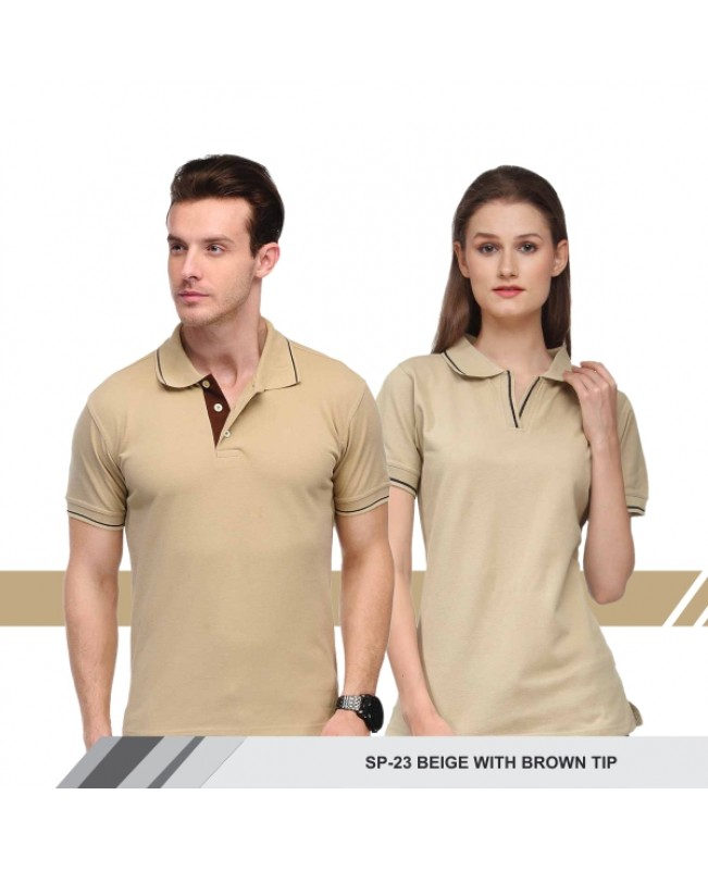 T-Shirt (Beige with brown tip)