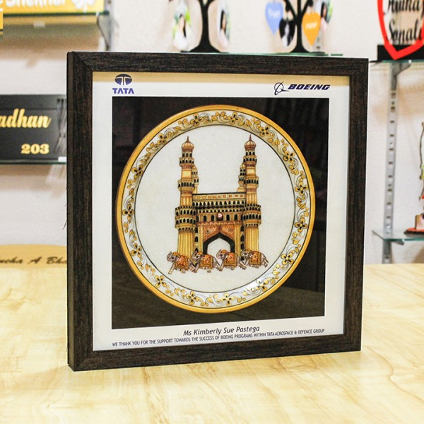 Marble Plate Frame with Charminar image