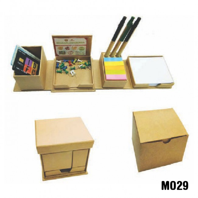 Eco-friendly foldable square cube box with pen holder sticky note (Code: MO29)
