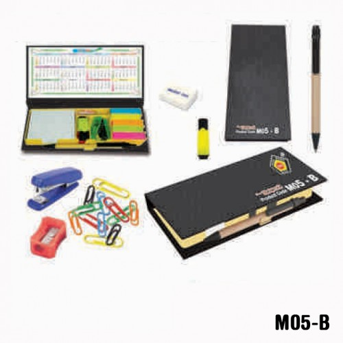 Black colour stationery kit with sticky note pad (...